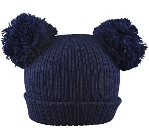 Pesci - Berretto invernale lavorato a maglia a coste per neonati e ragazzi, con doppio pompon, per neonati fino a 12 mesi Marina Militare 6 mesi
