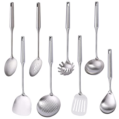 304 Stainless Steel Kitchen Utensil Set, Standcn 8 PCS All Metal Cooking Tools with Solid Spoon, Slotted Spoon, Wok Spatula, Soup Ladle, Skimmer, Slotted Spatula, Spaghetti Server, Large Rice Spoon