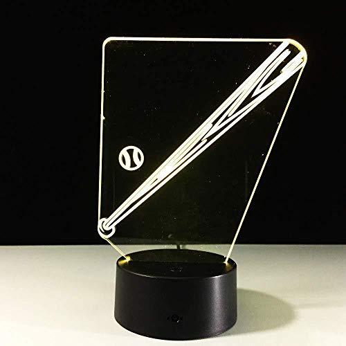 3D Illusion Nachtlicht Bluetooth Smart Control 7 & 16M Farbe Mobile App Led Vision Baseballschläger Neuheit USB Mini Batteriebetriebene Baby Mini Schreibtisch Tisch bunte kreative Geschenk