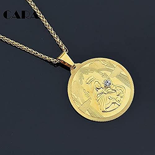 NC190 Virgen María Collar de Diamantes de imitación Color Dorado Navidad Mujeres/Hombres Joyería Collares Pendientes Cruzados