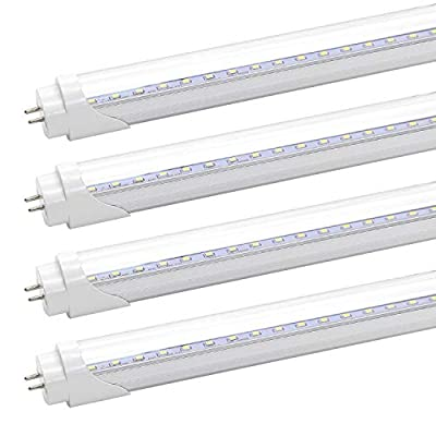 T8 T10 T12 2FT LED Light Tube - 8W LED Replacement for 24 inch Fluorescent Bulb, 20W Equivalent, 1120Lm, 5000K Daylight White, Ballast Bypass, Dual-End Powered, Clear Cover (Pack of 4)