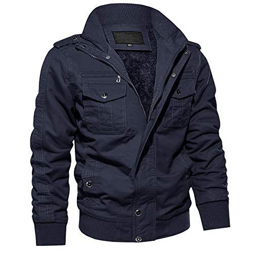 MAGCOMSEN męska kurtka przeciwwiatrowa, wojskowa, kargo, pilotka, taktyczna kurtka outdoorowa, ciepła kurtka męska, przejściowa, z wieloma kieszeniami, ciemnoniebieska XL (etykieta: 2XL)