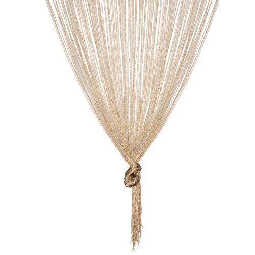TRIXES Gold Fadenvorhang im Tautropfen Design als Raumteiler Fliegenschutz oder als Festliche saisonale Dekoration Voller Größe: 90cm x 200cm