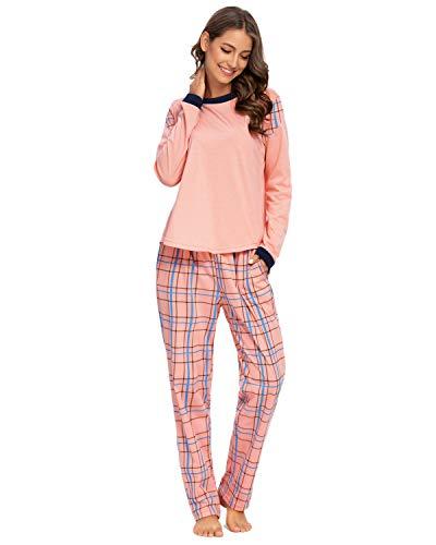GOSO Damen Schlafanzug,Pyjamas Schlafanzug Damen Pjs Langarm Top und Hosen Nachtwäsche Lady Jogging Style Nachtwäsche Soft Lounge Sets