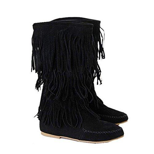 Zeagoo Damen Braune Schuhe Erwachsene Langschaft Gummistiefel Elegante Damenboots Damenstiefel Stiefeletten