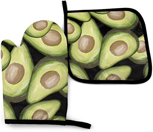 uytrgh Avocados Ofenhandschuhe, langlebig, hitzebeständig, für Mikrowelle, Grill, Ofenhandschuhe, 2-teiliges Set mit Umhängeband
