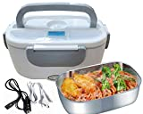 Nifogo Scaldavivande Elettrico Lunch Box Elettrico 3 in 1 Contenitore Elettrico Portavivande per L'Ufficio, casa, Auto,Camion 12V 24V e 220V 40W (Grigio)
