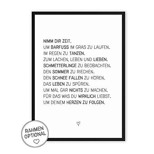 Nimm dir Zeit - Kunstdruck mit Spruch auf wunderbarem Hahnemühle Papier DIN A4 -ohne Rahmen- schwarz-weißes Bild Poster zur Deko im Büro/Wohnung oder als Geschenk zum Geburtstag etc.