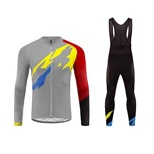 Future Sports Invierno Thermal Ropa de Bicicleta Hombre MTB Traje de Ciclismo Mangas Largas Maillots+Pantalones Equipación de Ciclista Bodies, Talla XS-6XL