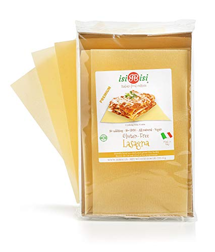 isiBisi Lasagna Gluten Free Pasta - Made with Rice and Corn Flour - Quality, Authentic Gluten Free Noodles - Vegan, Non-GMO Pasta Noodles - Made in Italy (9 oz - Single Pack)