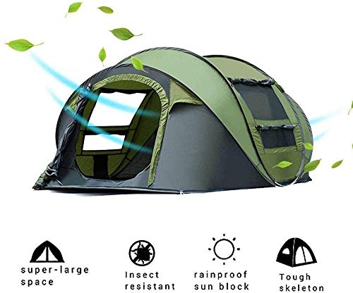 Cxjff Pop up Tent for Camping 3-4 Person Dome Tent Family Shelter Portable Cabana Tent Waterproof Backpacking Tents for Outdoor Hiking Picnic Traveling Beach - with Carrying Bag-Army Green(Upgrade)