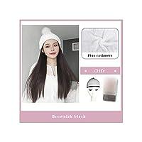 ナチュラル接続髪合成のBlack Hatカーリーヘアストレートヘアウィッグ弾性ニット帽子ウィッグ耐熱女性、42,22Inches