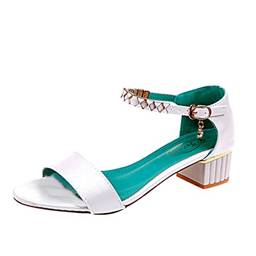 Dorical Fashion Lady con Sandali con Fibbia Womens Fashion Antiscivolo Peep-Toe Party Shoes One Word Buckle Thick Heel Sandal