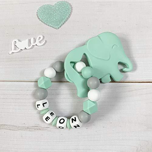 Beißring Greifring Greifling mit Namen Silikon mintgrün grau weiß Elefant Junge