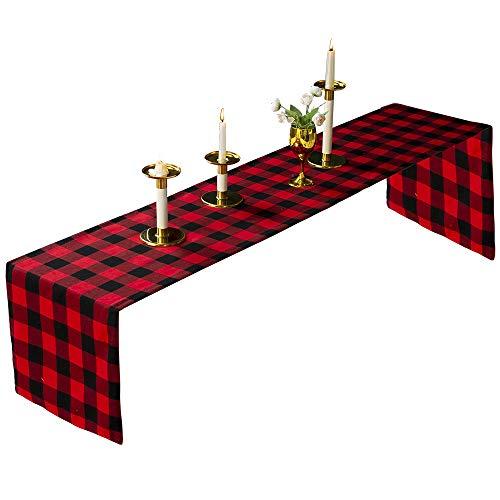 NY Christmas Buffalo Plaid Table Runner Black Red 14x72'' Table Runner Coffee Tabletop Family Dinner Xmas Festival Decoration