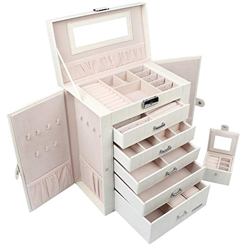 Homde 2 in 1 Huge Jewelry Box/Organizer/Case Faux Leather with Small Travel Case Gift for Girls or Women White Wood Grain