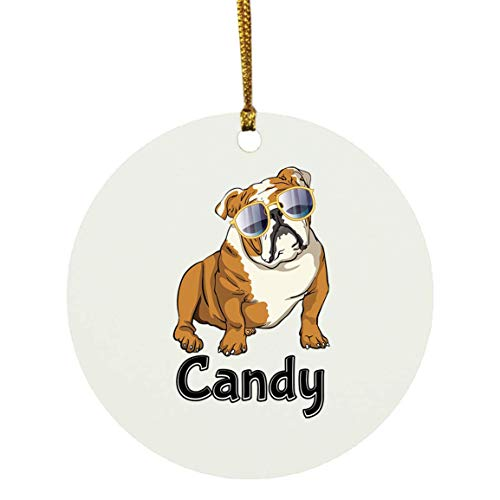 Weezag Candy Bulldog Dog Christmas Ornaments Tree Decor Decorations, Custom Personalized with Your Name Xmas Ornament Dog Lover Gifts for Pet Owner, 9319