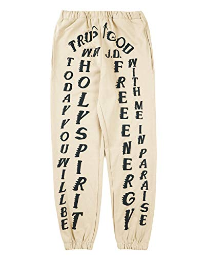 Freepie Sweatpants Kanye Jogger Sweatpants for Men Running Trousers Jogger Pant with Pockets Apricot