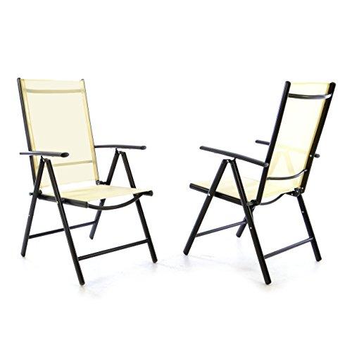 Nexos 2er Set Klappstuhl Klappsessel Gartenstuhl Campingstuhl Liegestuhl – Sitzmöbel – klappbarer Stuhl aus Aluminium & Kunststoff - Creme (Textilene) / anthrazit (Rahmen)
