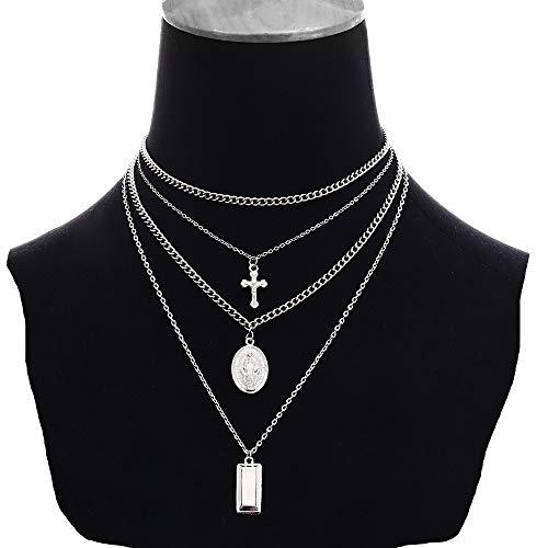Daimay Legierung Choker Halskette Mehrschicht Kreuz Anhänger für Frauen Männer Chunky Chain Punk Gothic Halsketten Pullover Kette – Silber
