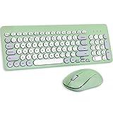Wireless Keyboard and Mouse Combo, Sweet Green Cute Keyboard, 2.4G USB Ergonomic Full-Sized Mute Keyboard for Computer, Laptop, PC Desktops, Mac