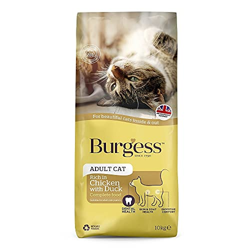 Burgess Dry Cat Food for Adult Cats Chicken with Duck, 10 kg