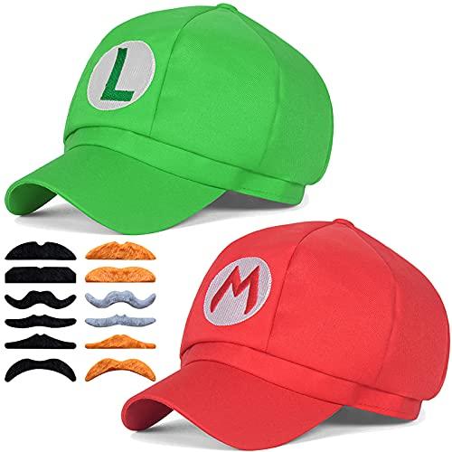 Super Mario Bros Hat Luigi Cap Cosplay Kids Adult Halloween Costume Baseball Anime Unisex Role Play Hat 2Pcs 22.83-23.62Inch(Red,Green