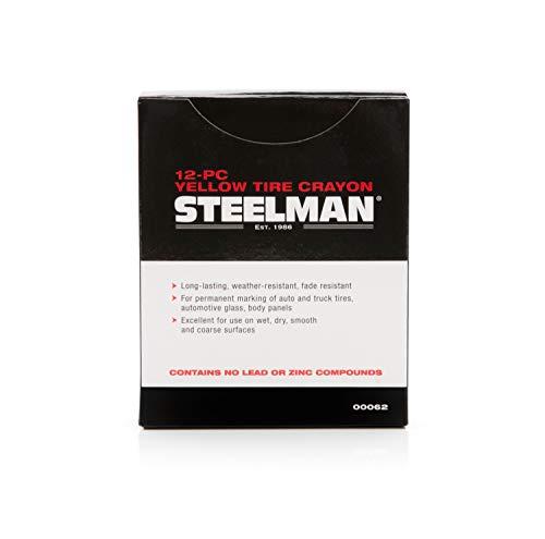 Steelman Yellow Tire Marking Crayons for Mechanics, Mark Tire Damage, Box of 12
