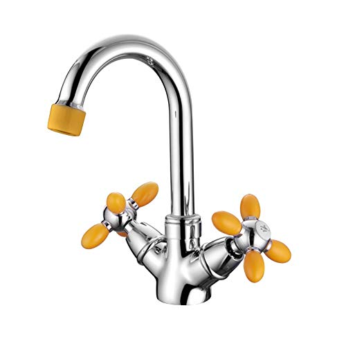 Grifo de lavabo de baño Accoona de un solo orificio Grifos de lavabo de doble manija Mezclador de lavabo Grifos de lavado de baño con manija de color A9482
