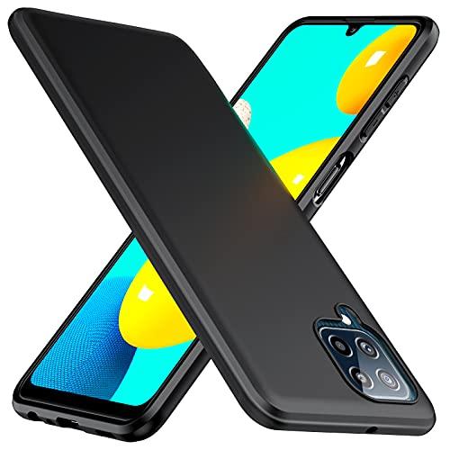 TesRank Samsung Galaxy M32 4G und M22 4G Hülle, Matte Oberfläche Soft Hüllen [Ultra Dünn] [Kratzfest] TPU Schutzhülle Hülle Weiche Handyhülle für Samsung Galaxy M32 4G und M22 4G-Schwarz