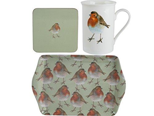 Creative Tops Into The Wild Christmas Robin Time for Tea Mug, Coaster & Tray Gift Set