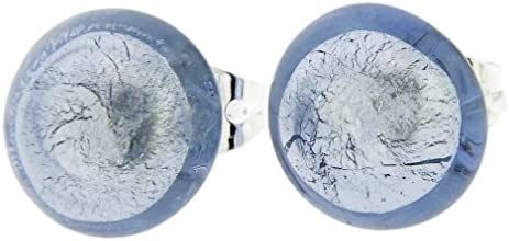 GlassOfVenice Pendientes de botón de cristal de Murano - Plata Ice
