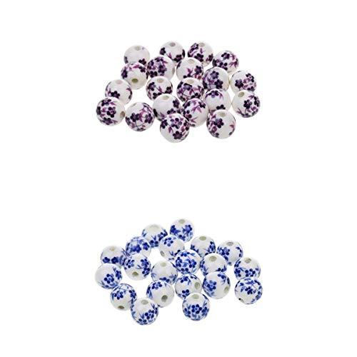 Bonarty 40 Piezas Púrpura + Azul Mezcla de Abalorios de Cerámica China Floral Fit Pulsera de Encanto Europeo para Hacer Joyas Cuentas Vintage 12mm