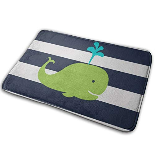 YudoHong Whale Nautical In Navy Blue Green Low Profile Front Door Mat Home Decor Non Slip Entryway Rug
