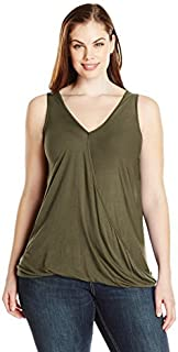 Paper + Tee Women's Plus-Size Sleeveless Drape-Neck Top