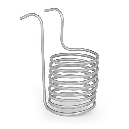 Klarstein Chiller Eintauchkühler - Wasserkühlspirale, Würzekühler, schnelle Abkühlung der Biermaische, 100 °C auf Raumtemperatur in 30 Minuten, Edelstahl, 20 cm Ø, 9 Kühlschleifen, silber