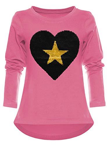 BEZLIT Mädchen Pullover Sweat-Shirt Wende-Pailletten Langarm Pulli Herz 22862 Rosa 140