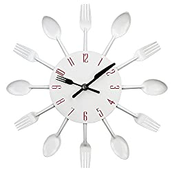 Timelike Kitchen Wall Clock, 3D Removable Modern Creative Cutlery Kitchen Spoon Fork Wall Clock Mirror Wall Decal Wall Sticker Room Home Decoration (White)