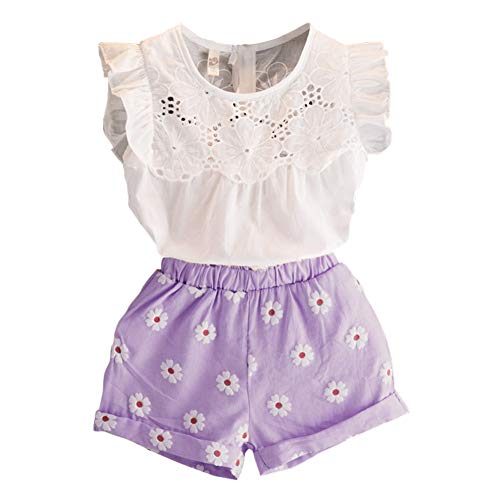 2PCS Set Toddler Kids Baby Girls Outfits Clothes T-Shirt Vest Tops+Shorts Pants(2-6 T) (2T, Purple)