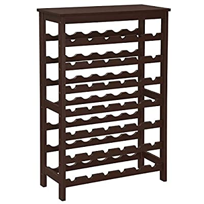 SONGMICS 42-Bottle Wine Rack Free Standing Floor, 7-Tier Display Wine Storage Shelves with Table Top, Bamboo Wobble-Free Bottle Holder for Kitchen Bar Dining Room Living Room