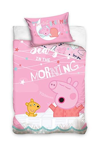 Peppa Kleinkind Baby-Bettwäsche Wutz Pig Good Morning 100x135 + 40x60cm 100% Baumwolle in Renforcé-Linon-Qualität George Grampy Mama Mümmel Papa Emergency Oma deutsche Größe mit Reißverschluss