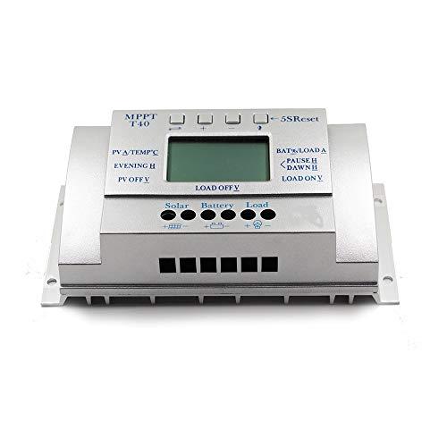 ZBF MPPT T40 40A Regulador de Carga Solar 12V 24V Auto LCD Controlador de Pantalla con Control de Temporizador Dual de Carga para Sistema de luz callejera (Color : Silver)