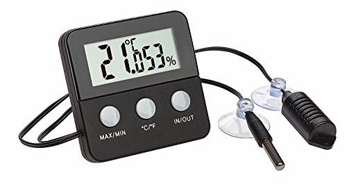 TFA Dostmann TERRACHECK Digitales Thermometer-Hygrometer zur Klimakontrolle in Terrarien (schwarz mit Batterie)