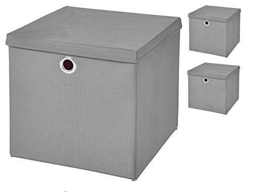 Stick&Shine 3X Aufbewahrungs Korb Hellgrau Faltbox 32 x 32 x 32 cm Regalkorb faltbar mit Deckel