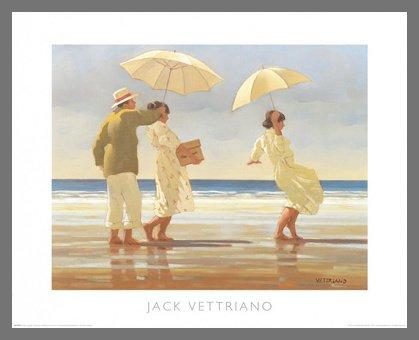 Germanposters Jack Vettriano The Picnic Party Poster Kunstdruck Bild mit Alu Rahmen in Champagne 46x56cm