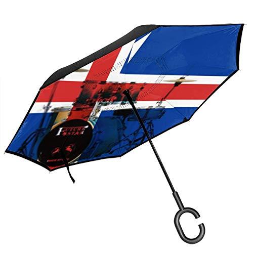 Bandiera Islandese Drum Set Reverse Inverted - Self Stand Upside-Down Rain Protection Ombrelloni per auto con impugnatura a C