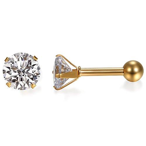JewelryWe Schmuck Damen Ohrringe, Elegant Runde Zirkonia Edelstahl Ohrstecker Tragus Helix Ohr Piercing, Gold - Breite 3mm