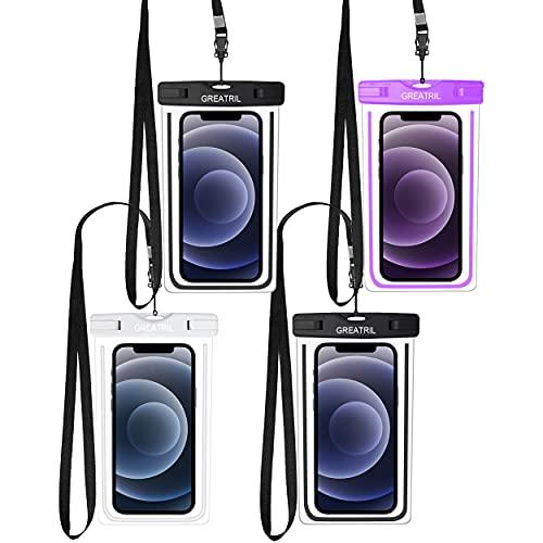 GREATRIL - Funda impermeable universal para teléfono móvil compatible con iPhone 12/12 Pro/XR Samsung A52/A51/A71/S20/S21 hasta 7 pulgadas (2negro, blanco y morado)