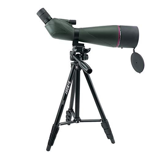 Svbony SV408 Cannocchiale, 20-60x80 Zoom Telescopio Terrestre Portata Impermeabile FMC Cannocchiale e Treppiede in Alluminio per Caccia Birdwatching Paesaggio