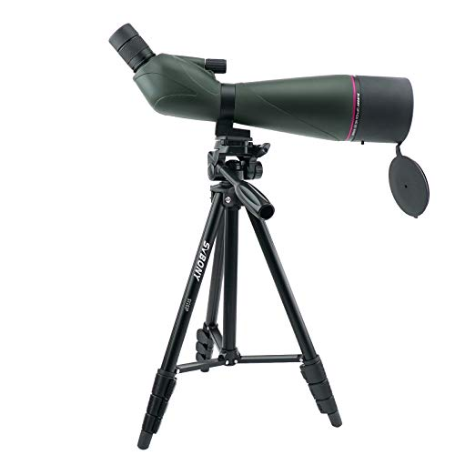 Svbony SV408 Telescopio Terrestre 20-60x80 Zoom Telescopio IPX7 FMC Antivaho Impermeable con Estuche Blando y Trípode de Aluminio para Observación de Aves Caza Mira el paisaje